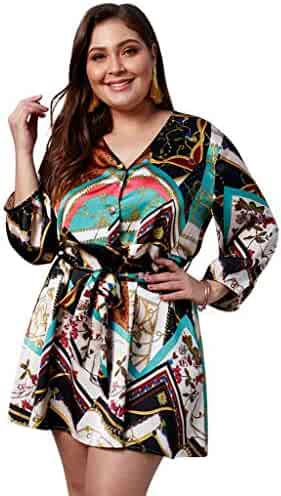 0d401a5cf290 Wellwits Women's Plus Size Patchwork Print Mini Short Shirt Summer Dress