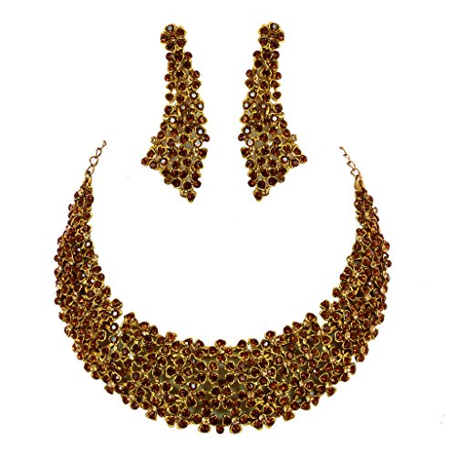 Jewelshingar Antique Gold Plated Cubic Zirconia Stones Necklace set For Girls ( 81042-nz ) by Jewelshingar