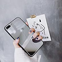 iPhone 8 Plus case, iPhone 7 Plus Case, KIMICO Tempered Glass Back Cover [High Clarity Mirror] [0% Distortion Mirror] + Soft TPU Bumper [Anti-Scratch] Makeup Touch up Selfie case (Rumination 8+)