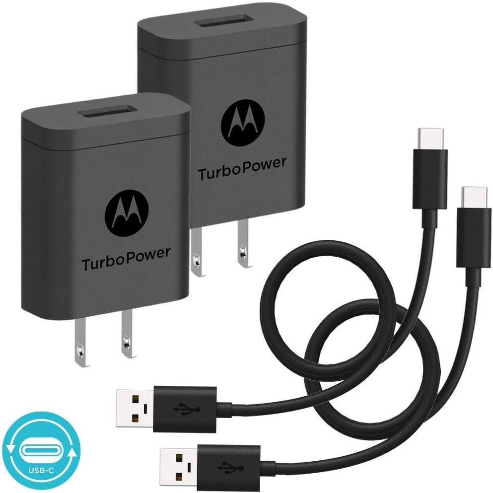 [2-Pack] Motorola TurboPower 18 QC3.0 Chargers with long 6.6 foot USB-A to USB-C cables for Moto Z, Z2, Z3, X4, Motorola One, One Power, G7, G7 Play, ...