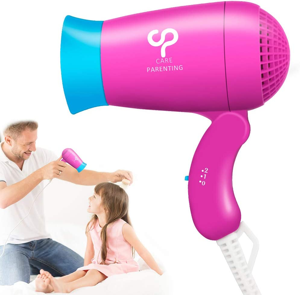 Mini Kid's Hair dryer, Careparenting Foldable Compact Travel Hair Blow Dryer Portable Lightweight Professional Hairdryer for Baby Children Max