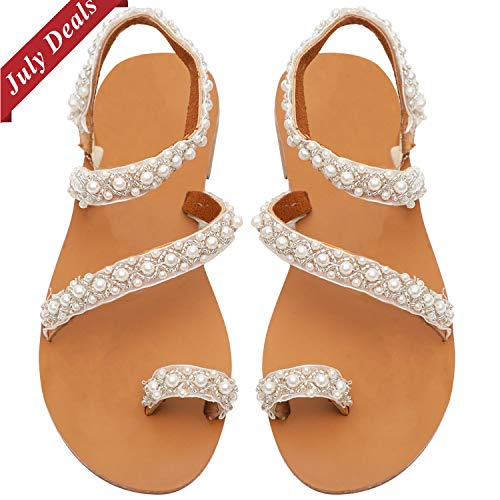 GBD Womens Flat Sandals Bohemia Crystal Sandals Ankle Strap Flip Flops Toe Ring Gladiator Sandals Summer Beach Wedding Shoes for School