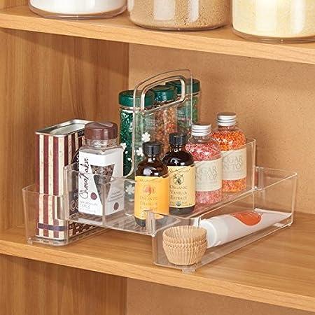 Fant/ástico accesorio de cocina de pl/ástico resistente mDesign Organizador de cocina transparente Caja con asa y varios compartimentos Pr/áctica caja organizadora para cocina y despensa