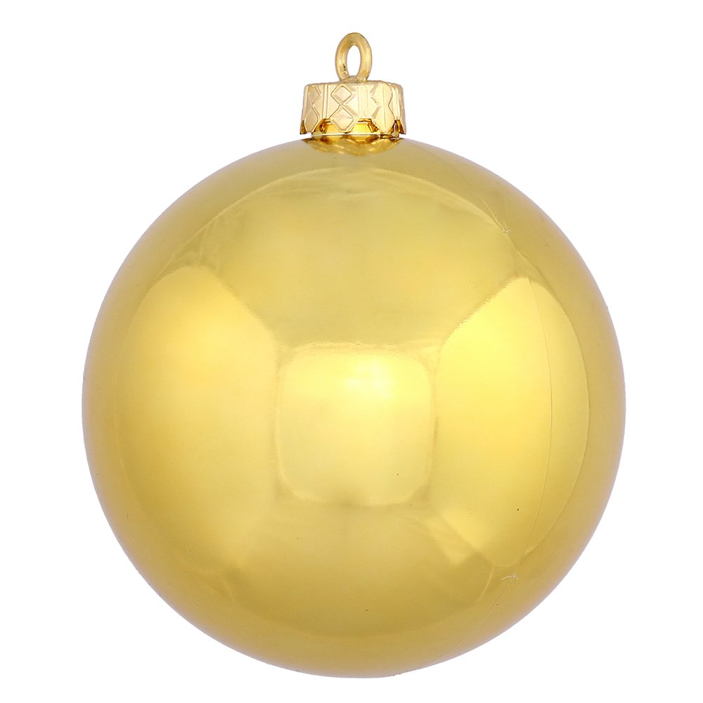 Vickerman Shiny Ball Finish Seamless Shatterproof Christmas Ball Ornament, UV Resistant with Drilled Cap, 6 per Bag, 4'', Gold