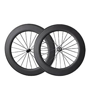 IMUST Lightweight Carbon Fiber T700 700C Aero Road Bike/Triathlon 86mm Clincher Tubeless Ready Wheelset 27mm Wide