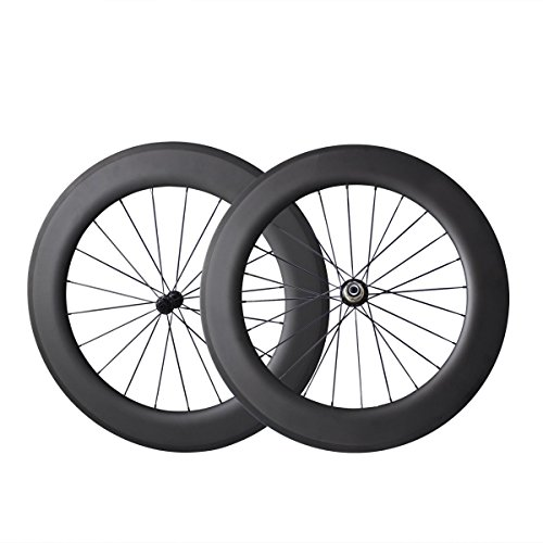 IMUST Lightweight Carbon Fiber T700 700C Aero Road Bike/Triathlon 86mm Clincher Tubeless Ready Wheelset 27mm Wide