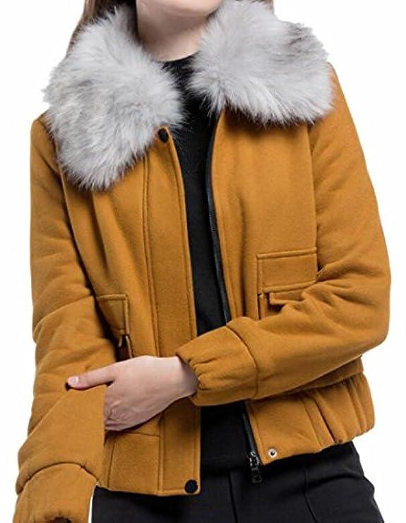 Jaycargogo Corta Donna Con Cappotto Giacca Moda Per Collo In Sintetica Misto Pelliccia Lana AwArf