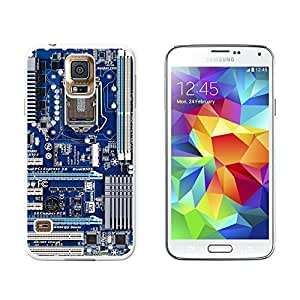 Blue Computer Motherboard - Processor CPU Memory - Snap On Hard Protective Case for Samsung Galaxy S5 - White