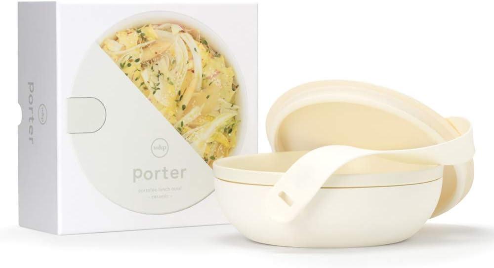 W&P Porter Ceramic Bowl Lunch Container w/ Protective Non-slip Exterior, Cream 1 Liter | Lid & Snap-tight Silicone Strap | Food Storage, Bento Box, Meal Prep | BPA-Free Ceramic