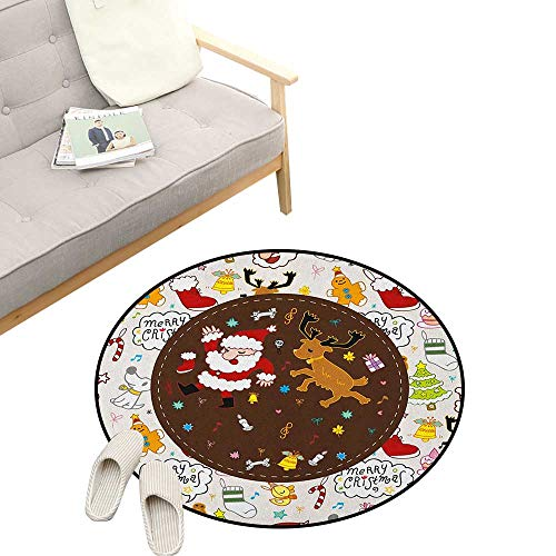 Dancing Santa Reindeer - Kids Christmas Custom Round Carpet ,Dancing Santa and Reindeer Happy New Year Cute Childish Party Icons Doodle, The Custom Round Non-Slip Doormat 39