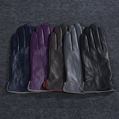 MATSU Women Winter Warm Leather 100% Cashmere lined Gloves TouchScreen 5 Colors M9906 (L, Navy Blue-TouchScreen) by Matsu Gloves (Image #4)