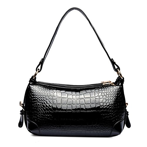 Hoxis Charming Crocodile Faux Patent Leather Top Zipper Portable Shoulder Handbag Womens Everyday Cross Body Satchel (Patent Leather Zipper)