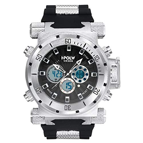 LYMFHCH Mens Sports Watches, Multifunctional Military Stopwatch, Waterproof Big Face LED Wrist Watch