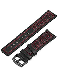 SHARK 22mm Mens Red Genuine Cowhide Leather Mesh Permeability Wrist Watch Band Strap Replacement WTL050