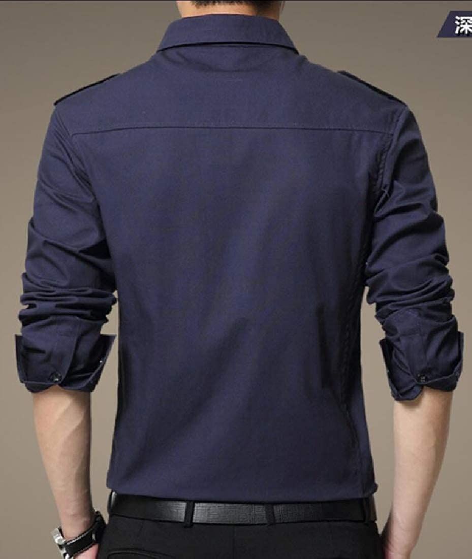 WSPLYSPJY Mens Casual Stretch Long Sleeve Solid Button Down Shirts Work Shirt
