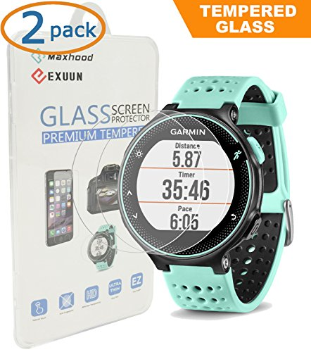 2-pack-garmin-forerunner-235-225-630-620-220-230-screen-protector-glass-exuun-real-03mm-premium-25d-