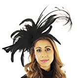 Hats By Cressida Elegant Sophie Black Ascot Derby Fascinator Hat - With Headband