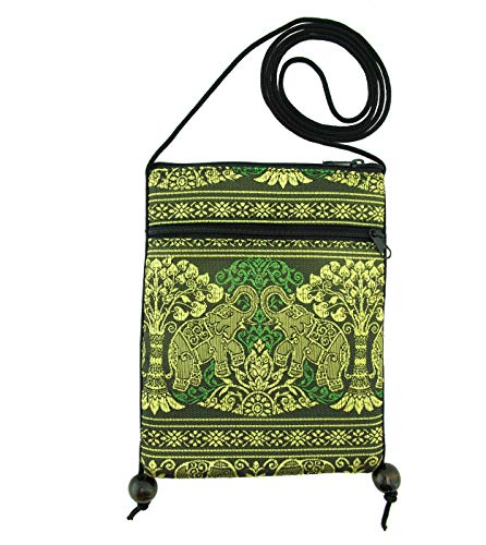 Thai Elephant Mini Crossbody Cell Phone Purse, Cute Silk Smartphone Bag, Small Pouch with Wood Ball Accents (Lime)