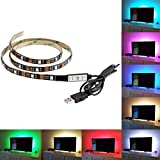 BMOUO USB LED Strip Light - 100CM(3.28Ft) Multi-color 30leds Flexible 5050 RGB USB LED Strip Light,TV Background Lighting Kit with 5v USB Cable And Mini Controller For TV/PC Background Lighting