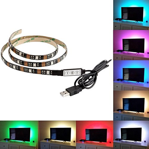 BMOUO-USB-LED-Strip-Light-100CM328Ft-Multi-color-30leds-Flexible-5050-RGB-USB-LED-Strip-LightTV-Background-Lighting-Kit-with-5v-USB-Cable-And-Mini-Controller-For-TVPC-Background-Lighting