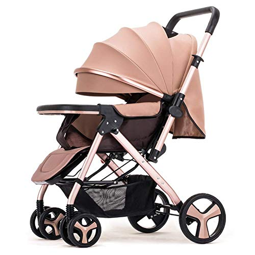 (ZLMI Pushchairs,Sitting/Lying Baby Wagon Ultra-Light Folding Stroller 0~3 Age Baby bb car,Beige)