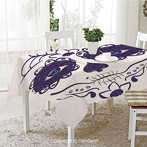 AmaUncle Premium Waterproof Table Cover Dia De Los Muertos Sugar Skull Girl Face with Mask Make Up Kitchen Rectangular Table Cover (W60 xL104) -