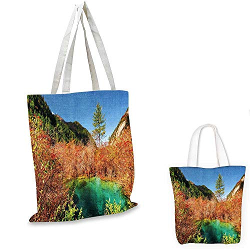 Nature canvas laptop bag Idyllic Fall Landscape with a Creek among the Forest in National Park Valley Art canvas bag shopping Green Amber. 14