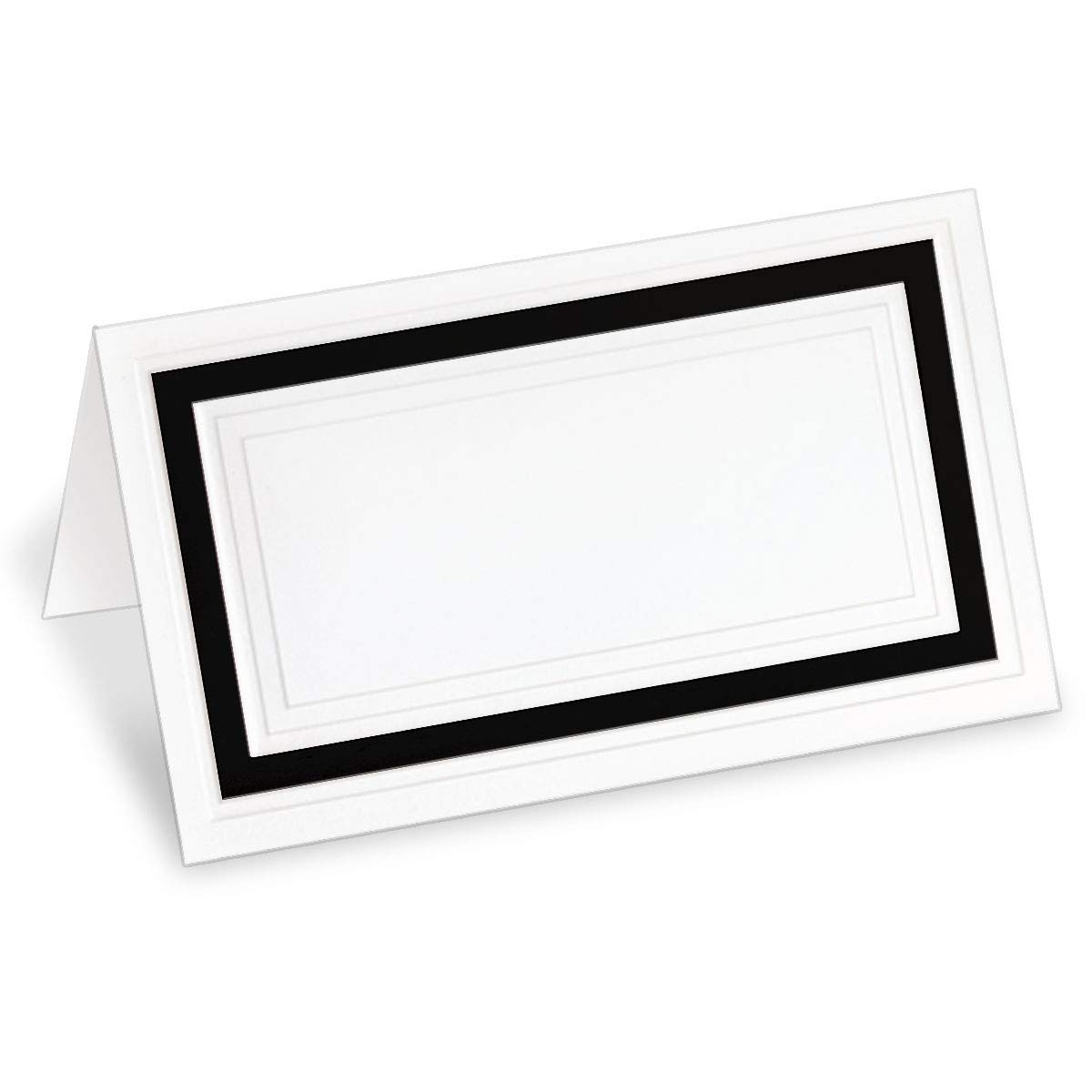 PaperDirect White 38lb Cover Stock Folded Place Cards with Black Foil Border, Micro-Perforated, 2'' x 3 1/2'', 200/Pack, Laser and Inkjet Compatible by PaperDirect