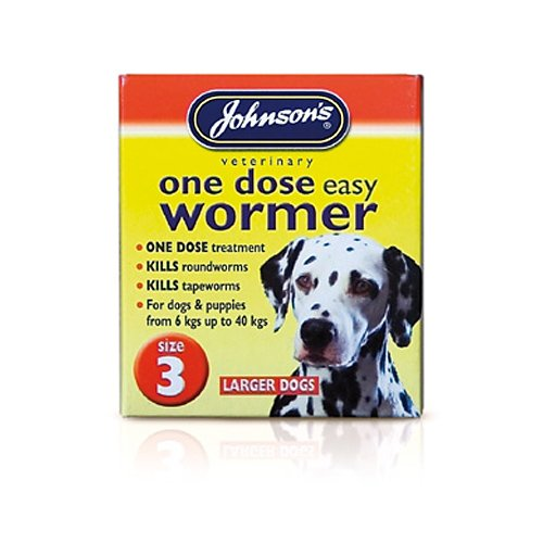 Johnsons One Dose Easy Wormer for Larger Dogs Size 3 30g  Bulk Deal of 6x