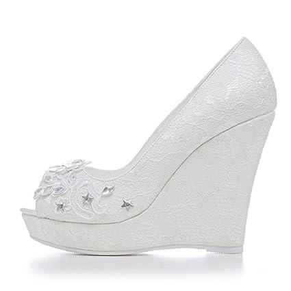 414f008b1efc2 Damen Brautschuhe Keilpumps Hochzeit Keilabsatz Schuhe Weiß Schnüren ...