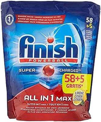 Finish All in One Max 58 + 5 pastillas para lavavajillas Lemon, 1070 gramos.