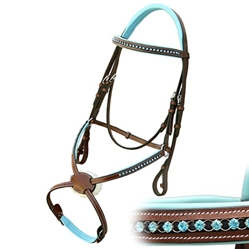 Exion Blue Round Ring Diamond Figure 8 Leather Bridle with PP Rubber Grip Reins and Stainless Steel Buckles | Equestrian Show Jumping Padded Bridle Set | English Horse Riding Tack | Conker | Cob