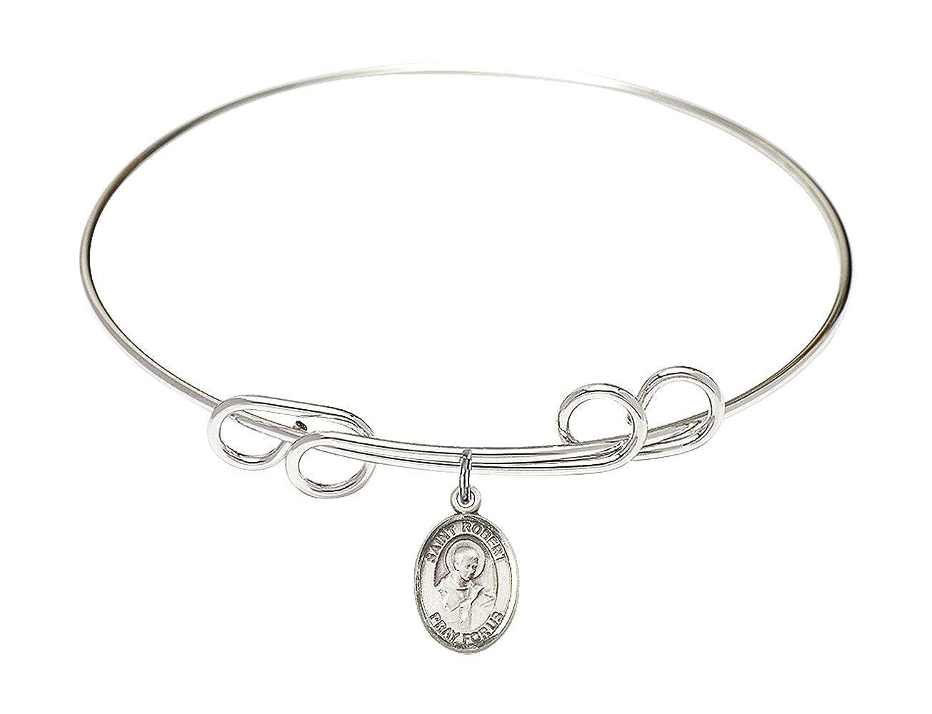 DiamondJewelryNY Double Loop Bangle Bracelet with a St Robert Bellarmine Charm.