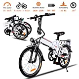 Korie 20' Folding Electric Bike with 36V Lithium-Ion Battery, 250W Motor and 7 Speed Shifter Lightweight E-Bike for Adults (20' - White)