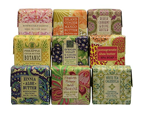 Greenwich Bay Trading Company French-Milled Luxurious Soap Sampler Gift Set in Nine Fabulous Scents, Individually Wrapped Vegetable Based Mini Soaps with Essential Oils, Shea Butter & Natural Extracts