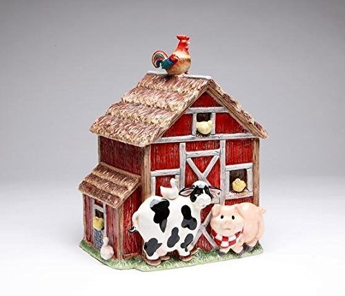 Red and Brown Barn Cookie Jar with Farm Animals<br>10.38H x 9W x 7.5D