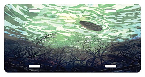 Underwater Branches (Fantasy World License Plate by Ambesonne, Underwater World with Tree Branches Stones Waves and Reflection of Sun Digital Art, High Gloss Aluminum Novelty Plate, 5.88 L X 11.88 W Inches, Green)