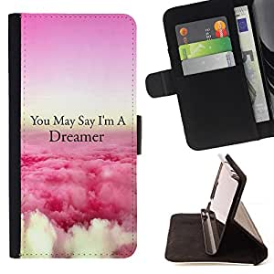 For LG OPTIMUS L90 Dreamer Clouds Pink Above Flying Quote Style PU Leather Case Wallet Flip Stand Flap Closure Cover