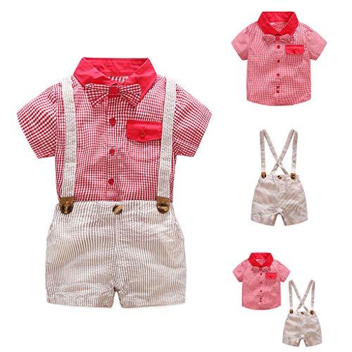 Modaworld Traje de Caballero bebé niño Recién Nacido Infantil Camisa de Pajarita a Cuadros Chico niños y Tirantes Pantalones Cortos Conjunto de Traje de ...