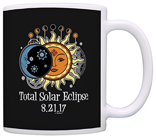 n & Moon Phases Astrology Mandala Total Solar Eclipse 2017 Solar Eclipse Gifts Science Gift Coffee Mug Tea Cup Black ()