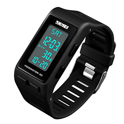 Women Mens Sports Watches Pedometer Calorie Digital Watch Waterproof LED Electronic Wrist Watch (Black) ()