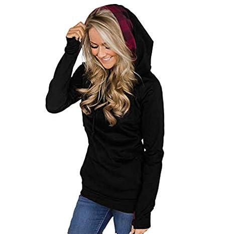 Sudadera para Mujer Cremallera Oblicua con cordón a Cuadros Color Puro Caps Hoods Sudadera Pullover Tops☆Rovinci☆¡Gran promoción!: