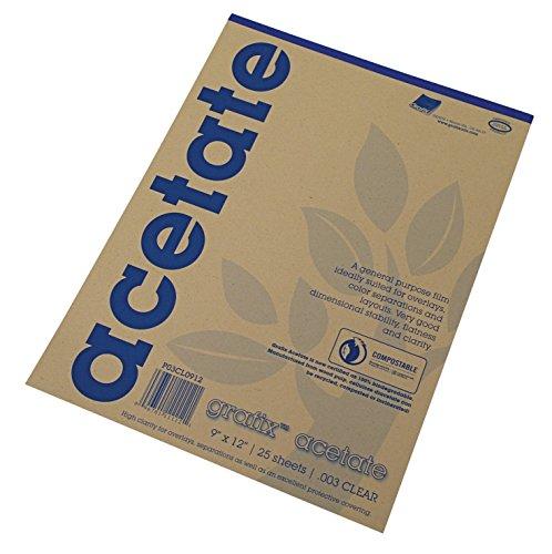 Grafix Acetate Pad, 9 X 12 in, Clear, 25 Sheets/Pad ()