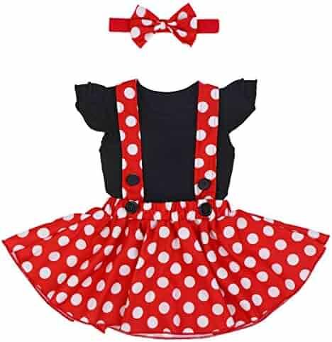 f3cf20d9d7 Baby Girls 1st Birthday Outfit Romper Polka Dot Dress Suspender Tutu Skirt  Headband 3Pcs Clothes Set