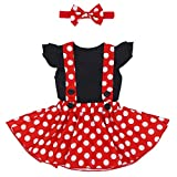 Minnie Costume Infant Toddler Girl Tutu Dress Outfit Polka Dot 1st Birthday Christmas Fancy Dress Up Princess Outfits Cake Smash Photo Props Romper Dress One-Piece Bodysuit Sunsuit 6-12 Months