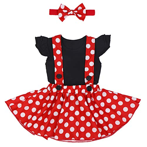 Polka Dots Minnie Costume Romper for Baby Girl Princess 1st Birthday Party,Dress Up w/Overall Suspender Skirt,Mouse Headband 0-6 Months -
