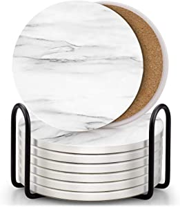 Set of 8 Coasters for Drinks ,EAGMAK Absorbent Marble Style Ceramic Drink Coaster with Holder for Coffee Wooden Table Home Decor (White)