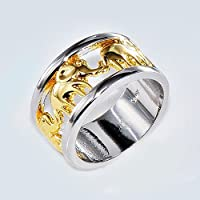 Gold Lucky Elephant Ring Wedding Band 10KT White Gold Filled Men/Women Size 6-10#by pimchanok shop (10)