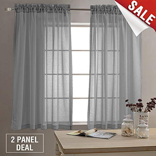 Sheer Curtains for Living Room Rod Pocket Charcoal Grey Curtain Panels for Bedroom 63 inch Length Voile Curtain Set 1 Pair Charcoal Charcoal -