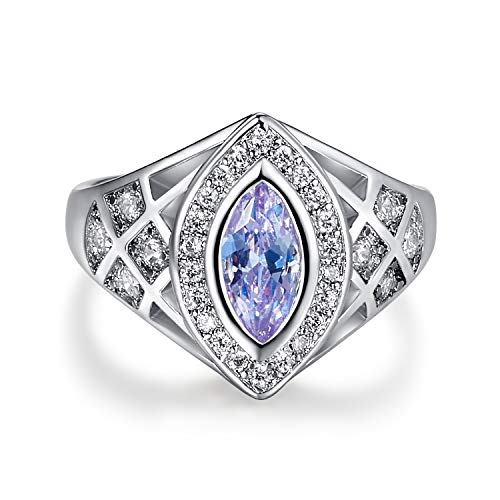 Momius 925 Sterling Silver Marquise Cut Created Emerald Quartz Filled Contemporary Ring Band (Color : Blue, Size : 6)